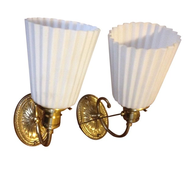Brass Wall Sconces With Uno Fittings - 2 - Image 1 of 8