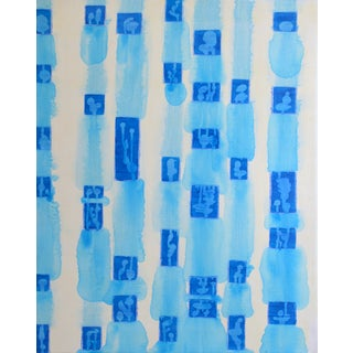 """""""There"""" Abstract Blue Tonal Painting"""
