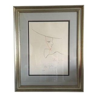 Jean Cocteau Signed Original Large Lithograph #219/220, 1957