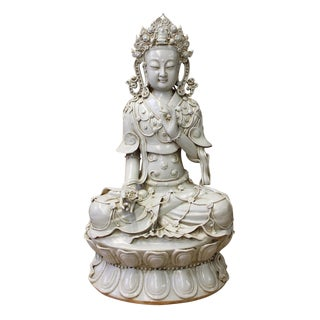 Tong Style Porcelain Kwan Yin Tara Bodhisattva Statue
