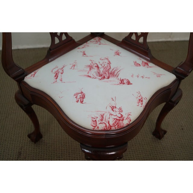 Southwood Chippendale Style Claw Foot Corner Chair - Image 6 of 10