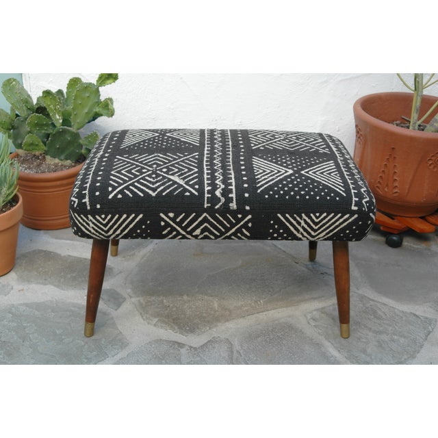 Mid-Century Footstool With African Mudcloth - Image 7 of 7