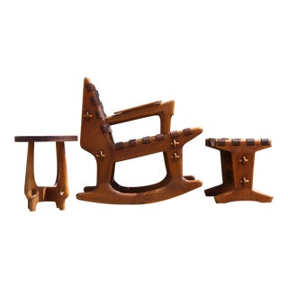 Angel Pazmino Sculptural Rocker with Footstool and Table