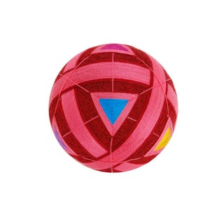 Temari Ball With Pink Bands & Multicolor Triangles