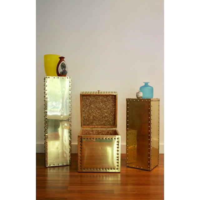 Sarreid-Style Brass Studded Pedestals - A Pair - Image 11 of 11