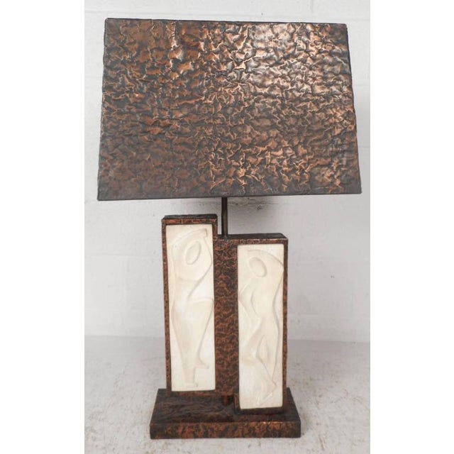 Unique Mid-Century Modern Textured Copper Table Lamp - Image 2 of 11