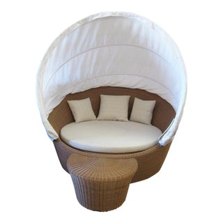 Dedon Orbit Wicker With Canopy Loveseat & Side Table