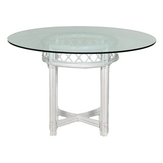 Ficks Reed White Trellis & Glass Top Dining Table