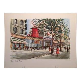 Vintage 1950's Moulin Rouge Paris Watercolor Lithograph by Ducollet
