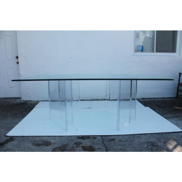 Sculptural Lucite & Glass Dining Table - Image 7 of 11