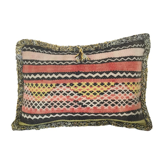 Moroccan Berber Vintage Kilim Wool Pillow - Image 1 of 5