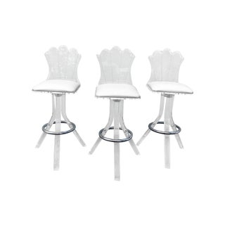 1970s Modern Lucite Bar Stools - Set of 3