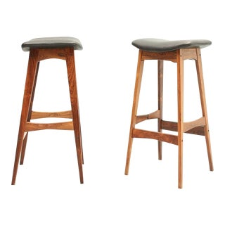 Rosewood and Black Leather Stools by Dyrlund - Danish, Mid-Century