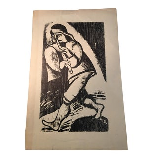 Vintage Woodcut of a Flute Player