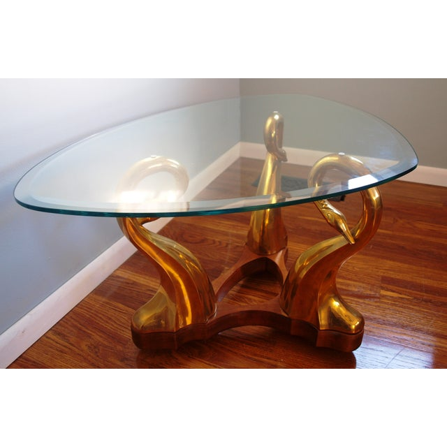 Brass Swan & Glass Coffee Table - Image 3 of 7