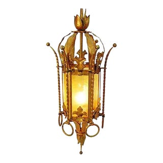 1930s Gothic-Style Pendant Chandelier Swag Light