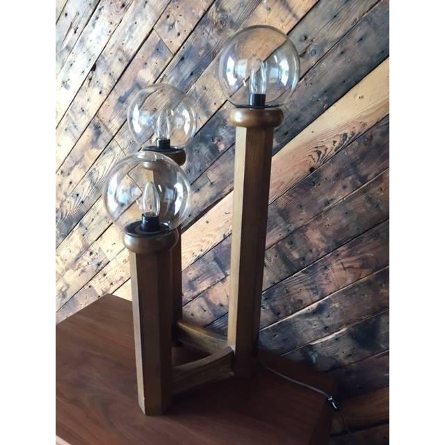 Vintage 1970s Cascading Walnut Table Lamp - Image 6 of 6