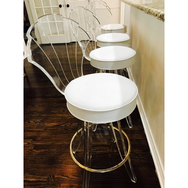 Vintage Lucite Acrylic Fan Back Bar Stools - Set of 4 - Image 9 of 9