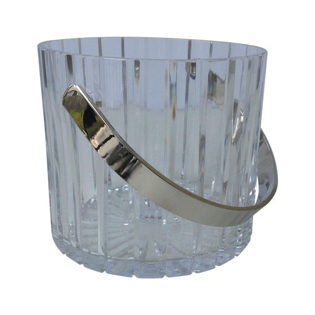 Image of Crystal Faceted Ice Bucket With Chrome Handle