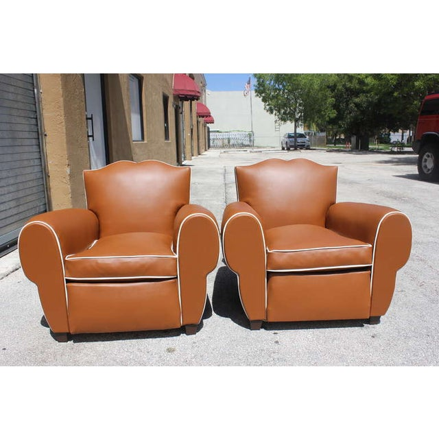 French Art Deco Vinyl Club Chairs - A Pair - Image 2 of 7
