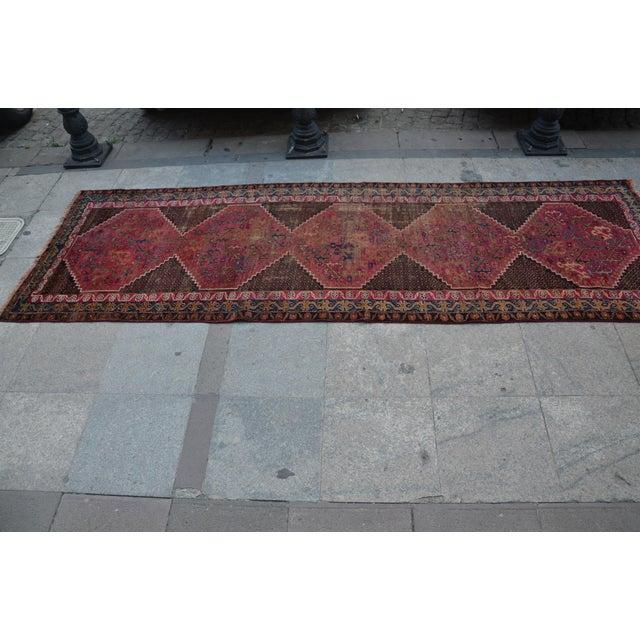 "Persian Antique Handmade Runner Rug -- 3'3"" x 10'5"" - Image 3 of 6"