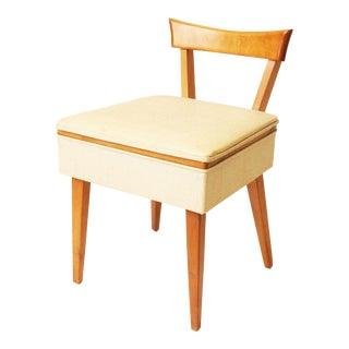 Danish Modern Wood Sewing Stool w White Vinyl Storage Seat