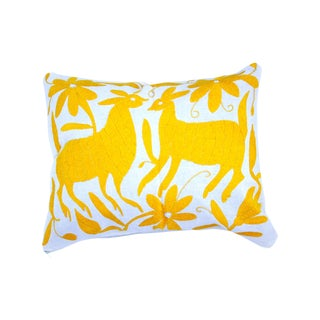 Yellow Handwoven Otomi Pillow Covers - A Pair