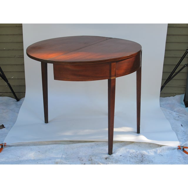 Sheraton-Style Demilune Rosewood Game Table - Image 8 of 11