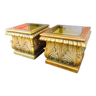 60s Gold Gilt Side Tables With Drop Shadow Box - a Pair
