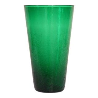 Large Emerald Green Crackle Vase by Wayne Husted for Blenko
