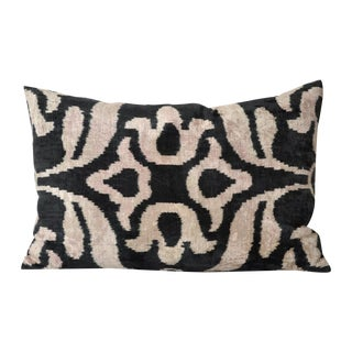 Black and Cream Silk Velvet Ikat Pillow