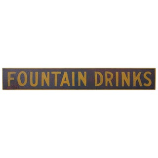 "Late 19th Century Hand-Painted Wood Sign ""Fountain Drinks"""