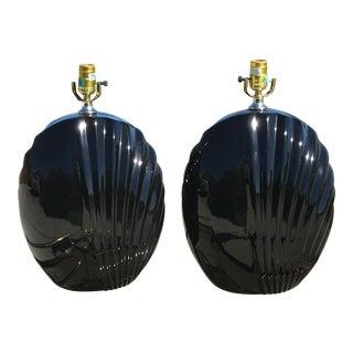 Large Black Ceramic Lamps - a Pair