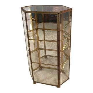 Mid-Century Modern Glass & Brass Mirrored Display Case