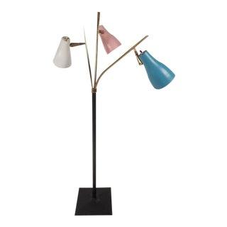 Unique Mid-Century Modern Three-Headed Swivel Floor Lamp