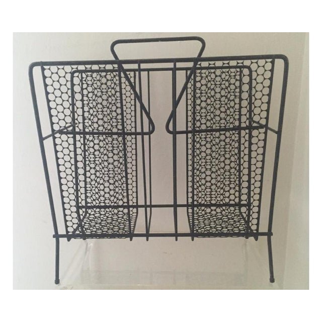 Vintage Atomic Wire Mesh Magazine Rack - Image 2 of 5