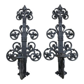 Mid-Century Large Black Candle Sconces - a Pair