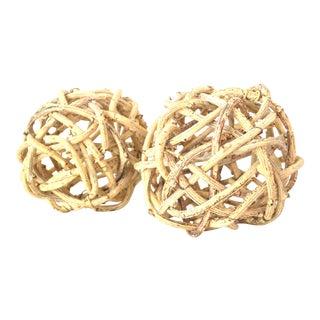 Natural Vine Windsor Knots Balls - A Pair