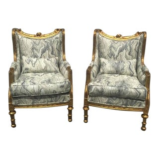 Louis XVI Baroque Bergere Chairs - A Pair