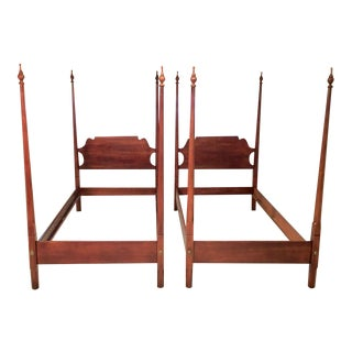 "Vintage ""Old Towne"" Cherry Twin Poster Beds - A Pair"