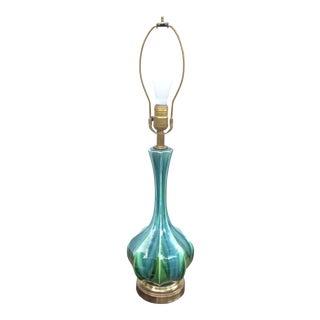 Mid-Century Haeger Blue Drip Glaze Lamp