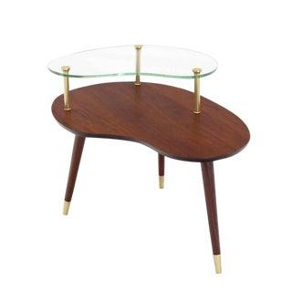Walnut Glass & Brass Organic Shape Side Table
