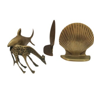 Brass Clam Bookends And Animal Figures - Set Of 3