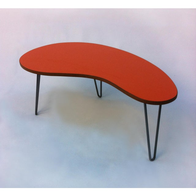 Mid-Century Modern Orange Kidney Bean Coffee Table