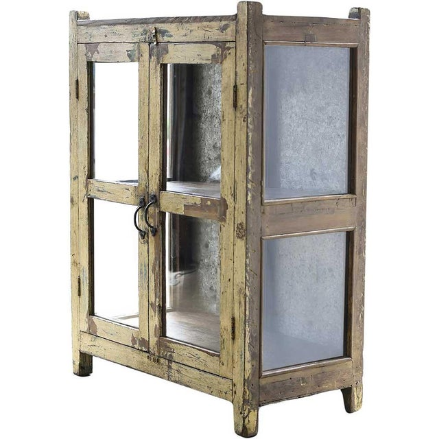 Vintage Rustic Yellow Cabinet - Image 1 of 5