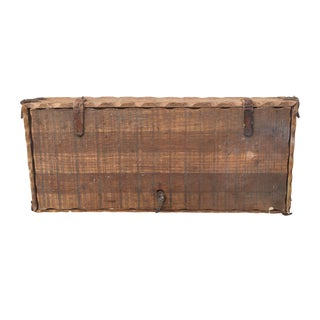 Vintage Leather-Sewn Wooden Box