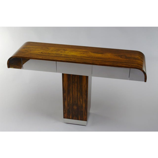 Rosewood & Chrome Pedestal Console - Image 3 of 11