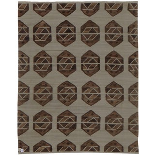 "Hand-Knotted Natural Modern Kilim by Aara Rugs - 9'7"" x 8'1"""