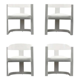 """Karl Springer """"Onassis"""" Armchairs/Dining Chairs, Set of Four"""