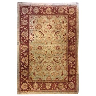 Traditional Olive & Burgundy Rug - 4′9″ × 6′4″